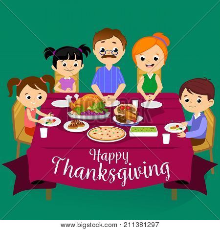 thanksgiving set, isolated happy family at the dinner table eat turkey and drink wine. Mother and father with childrens smile, celebrate together traditional autumn holiday. People give a thanks vector illustration.