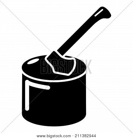 Axe in wood icon. Simple illustration of axe in wood vector icon for web