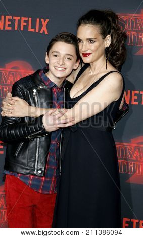 Winona Ryder and Noah Schnapp at the Netflix's season 2 premiere of 'Stranger Things' held at the Regency Village Theatre in Westwood, USA on October 26, 2017.