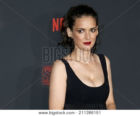 Winona Ryder at the Netflix's season 2 premiere of 'Stranger Things' held at the Regency Village Theatre in Westwood, USA on October 26, 2017.