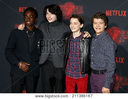Noah Schnapp, Gaten Matarazzo, Caleb McLaughlin and Finn Wolfhard at the Netflix's season 2 premiere of 'Stranger Things' held at the Regency Village Theatre in Westwood, USA on October 26, 2017.