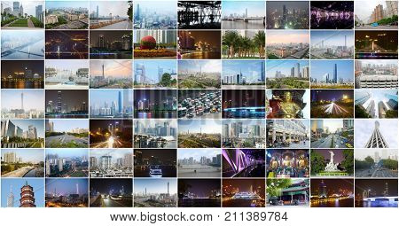 Collage with Guangzhou Canton TV Tower, many skyscrapers in Guangzhou, China