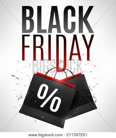 Black friday sale announcement with shopping bags and percent discount sign