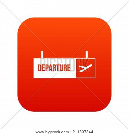 Airport departure sign icon digital red for any design isolated on white vector illustration