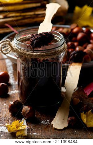sugar free homemade nutella keto low carb.style rustic.selective focus
