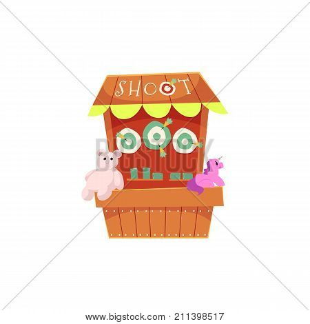 Cartoon carnival game booth in amusement park, side view vector illustration isolated on white background. Cartoon illustration of carnival game, amusement park or fairground entertainment