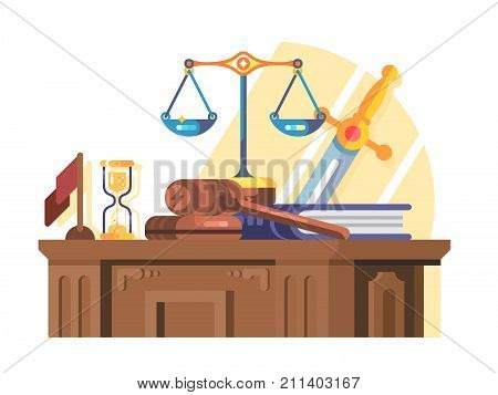 Jurisprudence court and law concept flat. Legal justice and gavel legislation authority, scales of justice, vector illustration