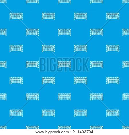 Goal post pattern repeat seamless in blue color for any design. Vector geometric illustration