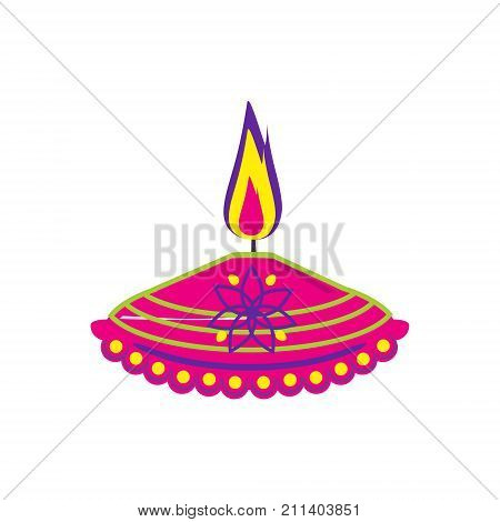 Vector illustration diya lamp lit during Diwali festival. Happy Diwali. Greetings Card Design Indian Hindu Festival of lights called Diwali