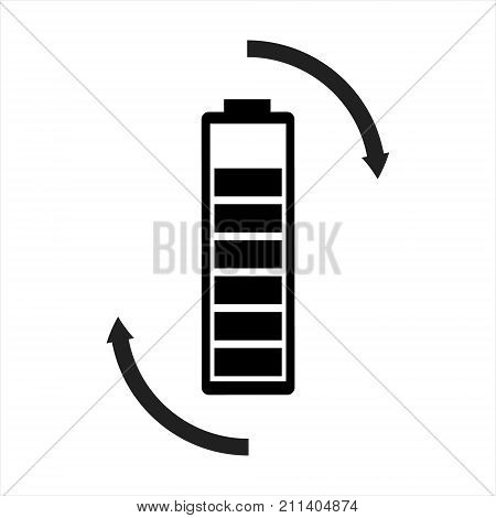Vector illustration rechargeable battery simple black and white sign symbol isolated on white background