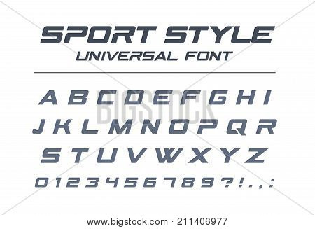 Sport style universal font. Fast speed futuristic technology future alphabet. Letters and numbers for military industrial electric car racing logo design. Modern minimalistic vector typeface
