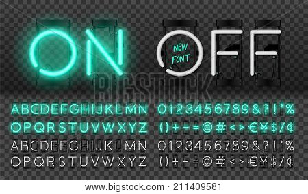 Big turquoise neon set glowing alphabet vector Font. Glowing text effect. On and Off lamp. Neon Numbers and punctuation marks. isolated on transparent background.