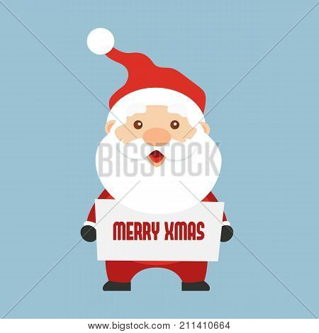 Santa Claus holding sign with text