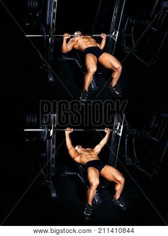 Bodybuilding exercises tutorial concept. Muscular man pumping up muscles on bench press with barbell gym. Power fitness man show how to train chest with lifting weights master class