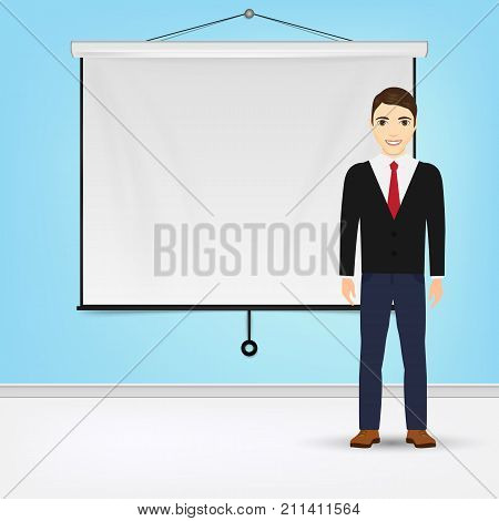Businessman giving presentation with projector screen white board. Presentation concept Vector illustration. Eps 10.