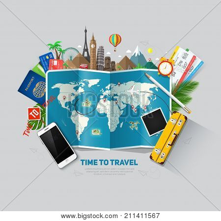 Travel and tourism background. Travel concept ready for Summer. Top view. Concept website template. Eps10