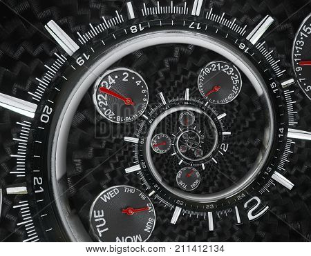 Modern silver black fashion clock watch red clock hands twisted to surreal time spiral. Surrealism clock black clock watch abstract fractal background Stylish clock texture pattern Concept time spiral. Clock hands pointers
