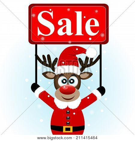 Christmas Sale, Christmas Deer With Banner.