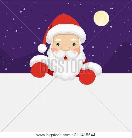 Santa Claus holding empty sign. Cute cartoon santa claus. Christmas concept. Vector stock.