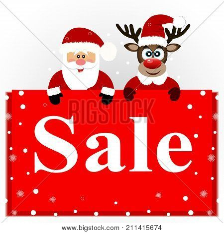 Christmas Sale, Christmas Deer And Santa With Banner.