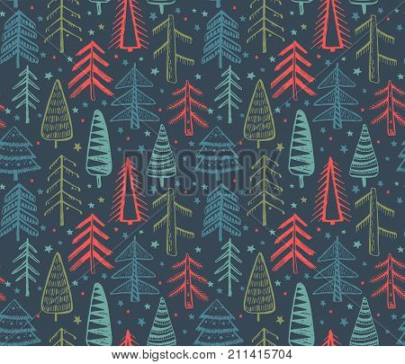 Colorful seamless pattern with hand drawn ornate Christmas trees. Vector endless background of new year symbols in graphic doodle style.