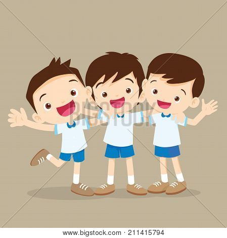 Three Boys Pupil Hugging And Smiling