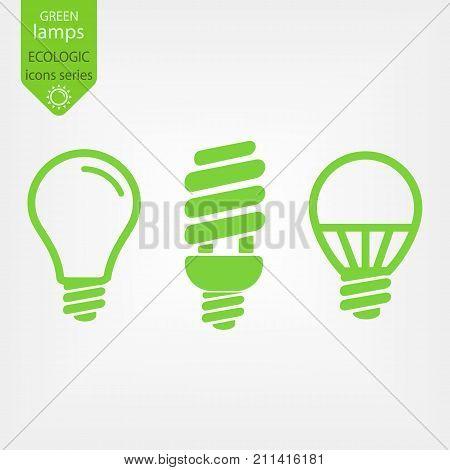 green eco light bulb icons set, low energy concept