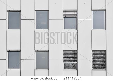 shot of conservative style architecture office building windows