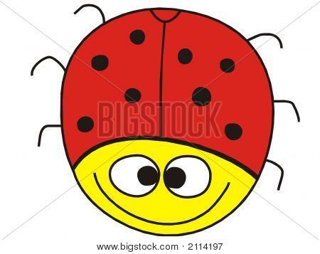 Fanny ladybug with big smile on white background poster