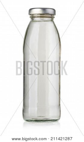bottle of white juice isolated on white background with clipping path
