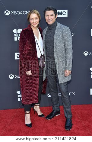 LOS ANGELES - OCT 22:  Lou Diamond Phillips and Yvonne Boismier arrives for the 'The Walking Dead' Season 8 Premiere on October 22, 2017 in Hollywood, CA