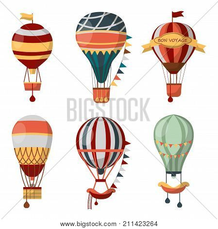 Hot air balloon retro icons with pattern for Bon Voyage or open air balloon festival. Vector isolated se of cloudhopper with passenger gondola for travel tour or tourism and entertainment show