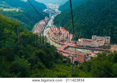 Aerial view of Krasnaya Polyana taken from the cabin of cableway Russia