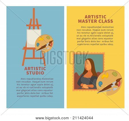 Artist studio painting tools and artistic master class materials poster. Vector oil or watercolor paint, brush and color palette for masterpiece picture drawing, pastel and canvas on easel