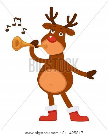 Christmas Polar deer with red nose and branchy horns dressed in boots with fur plays pipe isolated cartoon flat vector illustration on white background. Fairy animal performs music with instrument.