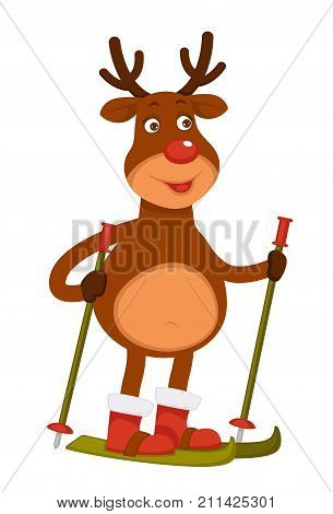 Christmas Polar deer with red nose and branchy horns dressed in santas boots goes skiing isolated cartoon flat vector illustration on white background. Fairy animal does sports with skis and sticks.
