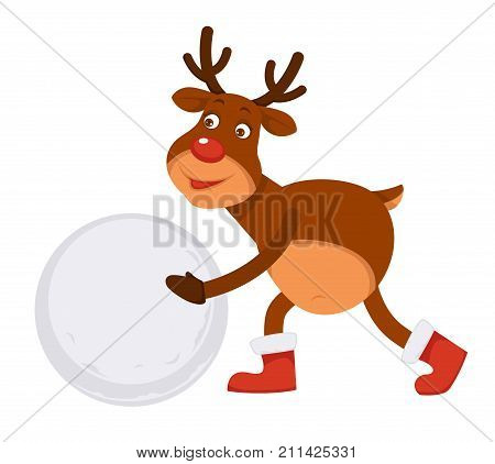Funny Christmas Polar deer with bright red nose and branchy horns in winter boots makes snowman isolated cartoon flat vector illustration on white background. Fairy animal rolls ball of snow.