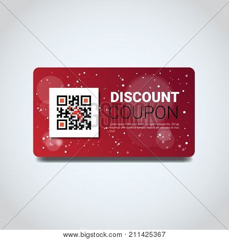 Discount Coupon Design Voucher With Qr Code For Present On Merry Christmas And Happy New Year Isolated Flat Vector Illustration