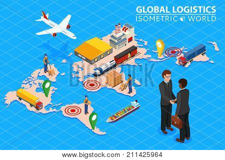 Global logistics network Flat 3d isometric vector illustration Set of air cargo trucking rail transportation maritime shipping. Business concept agreement and cooperation.