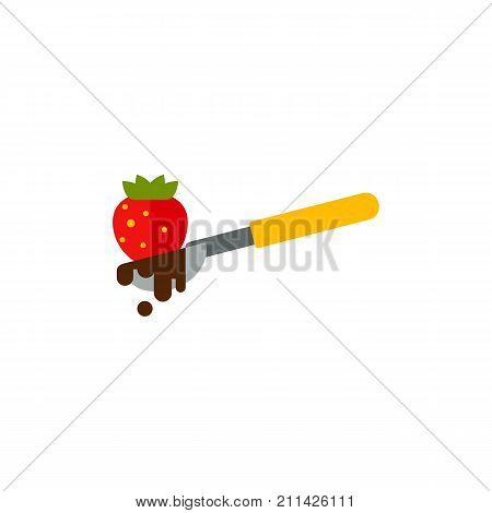 Icon of chocolate with raspberry. Melted chocolate, spoon, berry. Chocolate dessert concept. Can be used for topics like temptation, elegant dessert, romantic dinner