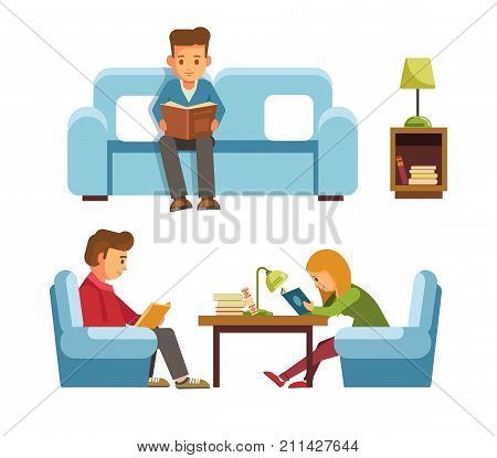 Children students in library or bookshop reading books on chair or sitting at home sofa with lamp on table. Vector flat design of people read and study