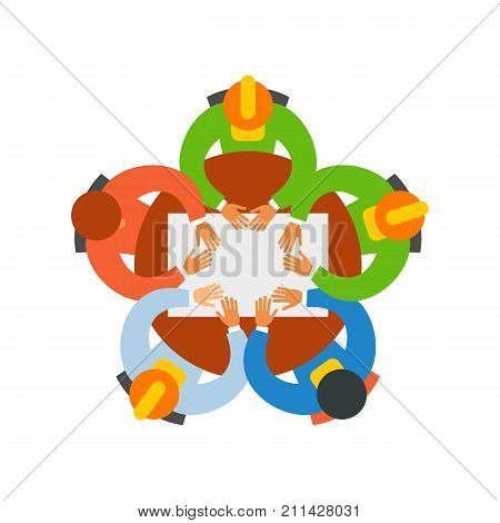 Icon of planning project. Colleagues, teamwork, building contractor. Engineering concept. Can be used for topics like business meeting, brainstorming, round table