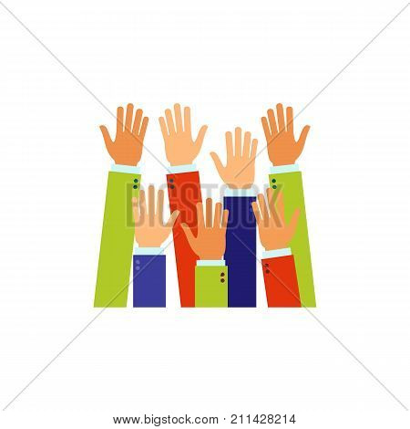 Icon Raised up hands. Answer, voting, audience. Business education concept. Can be used for topics like politics, society, opinion