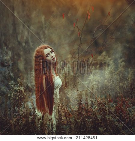 A beautiful young woman with very long red hair as a witch walks through the autumn forest. Colors of autumn. Creative colors and Artistic processing.