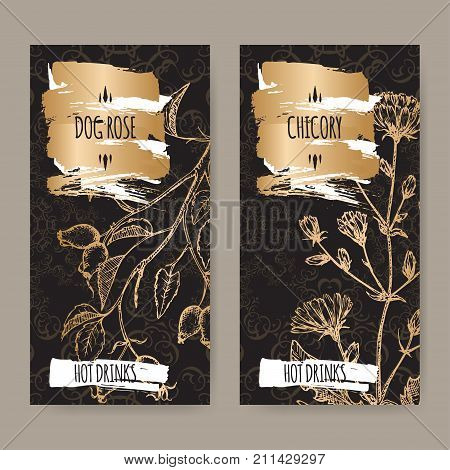 Two black labels with Cichorium intybus aka common chicory and Rosa canina aka dog rose sketches. Hot drinks collection. Great for cafe, bars, tea ads.