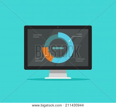 Computer data analytics vector illustration, flat design desktop monitor with research information graphs or round diagram charts on display, concept of research analysis, results analyzing icon
