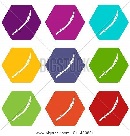 Cutlass icon set many color hexahedron isolated on white vector illustration