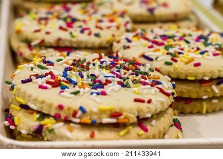 Closeup Of Golden Cookies With Tiny Rainbow Sprinkles. Soft Focus