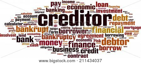 Creditor word cloud concept. Vector illustration on white