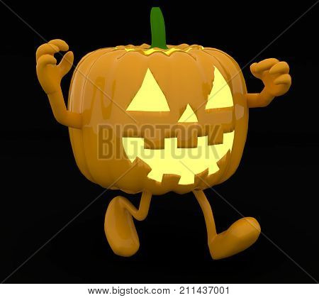 Halloween Pumpkin With Arms And Legs On Dark Background